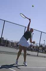 Senior Katie Ryan warms up before the team's match against Millis. Photo by Ryan McLean