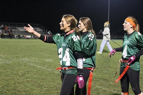 Senior Natalie Mazur contesting a call at Friday nights Powder Puff game on November 18th.  Photo By John Nadeau
