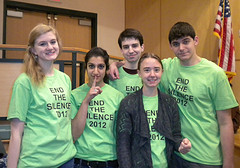 Along with several other participants, (left to right) Jacqueline Disch, Mehr Kaur, Dan Liberta, Leah Raczynski, and Sam Chirco, gathered in the HHS Audtiorium the morning of Day of Silence to get their shirts and to take their oath of silence for the day. Photo by Jaime Hinkel