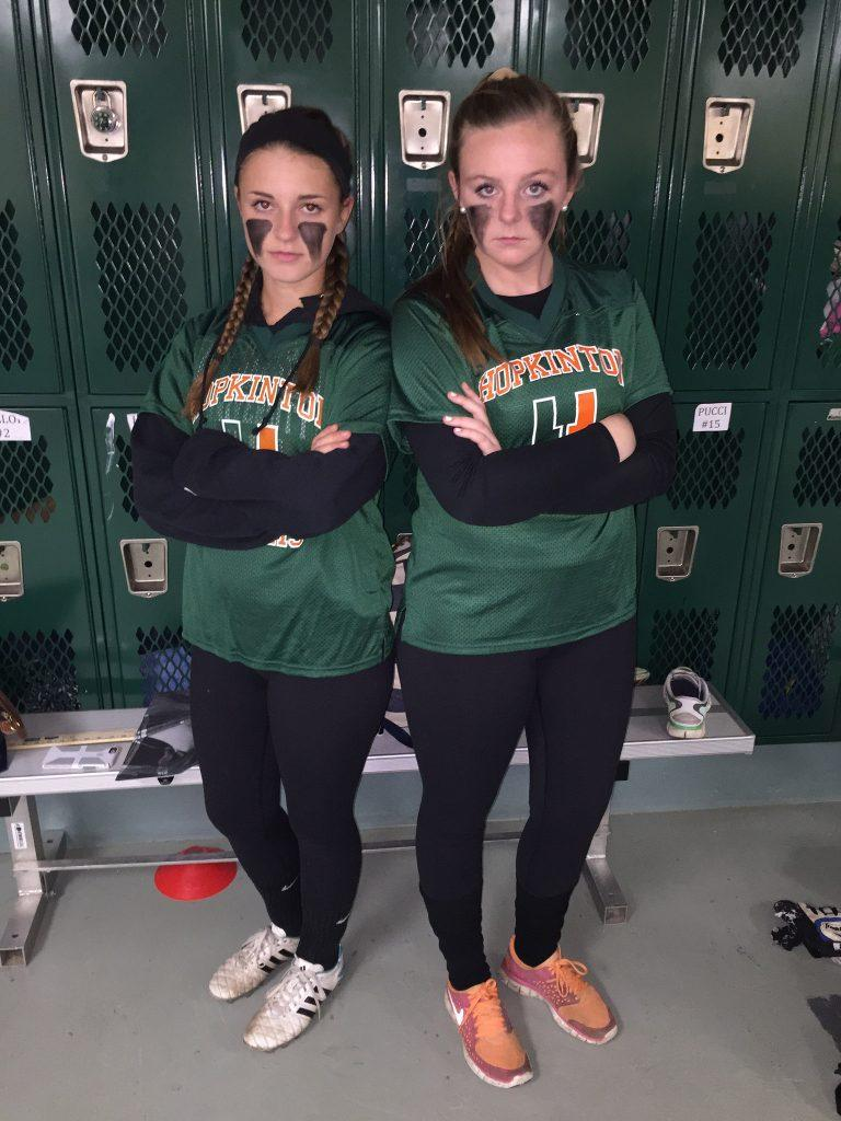 Just an hour before the game, seniors Jennifer DePatie (left) and Brigid Marquedant (right) are ready to play. Photo by Emma Zack.