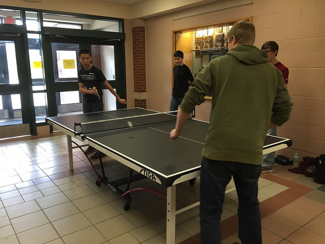 A group of HHS boys playing ping pong outside of the cafeteria during De-Stress Week. Photo By Amanda Sayegh