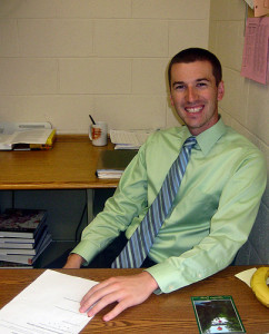 Brian Prescott, Hopkinton High School's newest history teacher, now sits behind the teacher's desk reminded of his days as a student at our school.  Photo by Cassandra Boyce