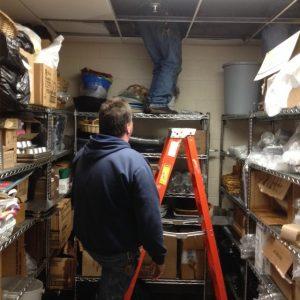 At 10:35am, maintenance staff is still working on pipe repairs. hhspress staff photo.
