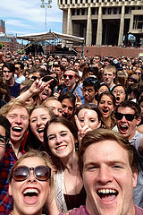 The reporter and friends at 2014 Boston Calling.