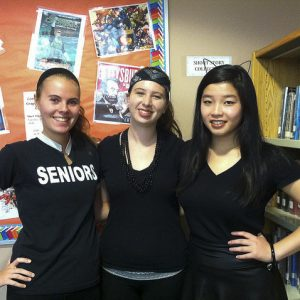 """Seniors Taylor O'Dell, Jenna Thyne, and Catherine Zhang showing their school spirit on """"blackout"""" day"""