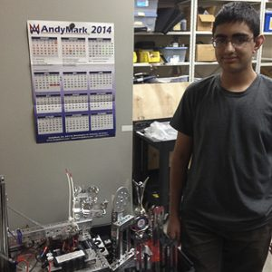 Rish Shadra, junior, is a three year member and lead programmer for the Robotics Club and is working with his team to design robots for the 2014-2015 school year. Photo by Nikolai Saporoschetz.