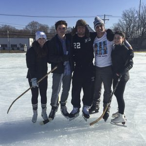 (Left to Right) Seniors at HHS Caitlyn Wilson, Michael Sullivan, Andrew Donohue, Christopher Liberta, and Jackie Thompson enjoy the new ice rink during a study. Photo by Jillian Sullivan.