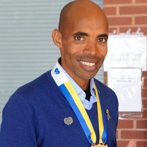 In April of 2014, Runner Meb Keflezighi became the first American to win the Boston Marathon since 1983, an especially significant win just a year after the bombings. Photo by Jillian Sullivan.