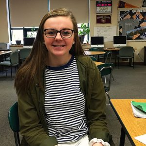 Brigid Marquedant, junior at HHS, is eager to travel outside of the country for the first time and make new friends. Photo by Victoria Esper.