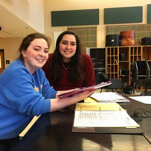 Cassie Clark and Emma Nigrosh, seniors at HHS, enjoy spending time at rehearsals to ensure they are prepared for various performances. Photo by Amanda Dings.