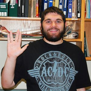 "Comic Book Club member Jake Collins hopes the club will ""Live long and prosper.""  Photo by staff."