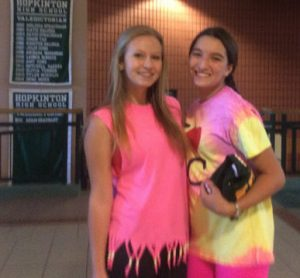 HHS freshmen Ivy Missaggia and Isabelle Coutinho participate in Color Blast day. Photo by Sabrina Martin.