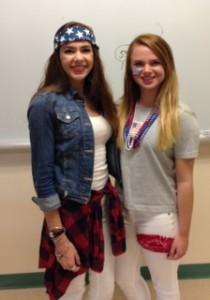 Hannah Ryan (left) and Krysta Kraieski represent the American spirit. Photo by Owen McNamara.