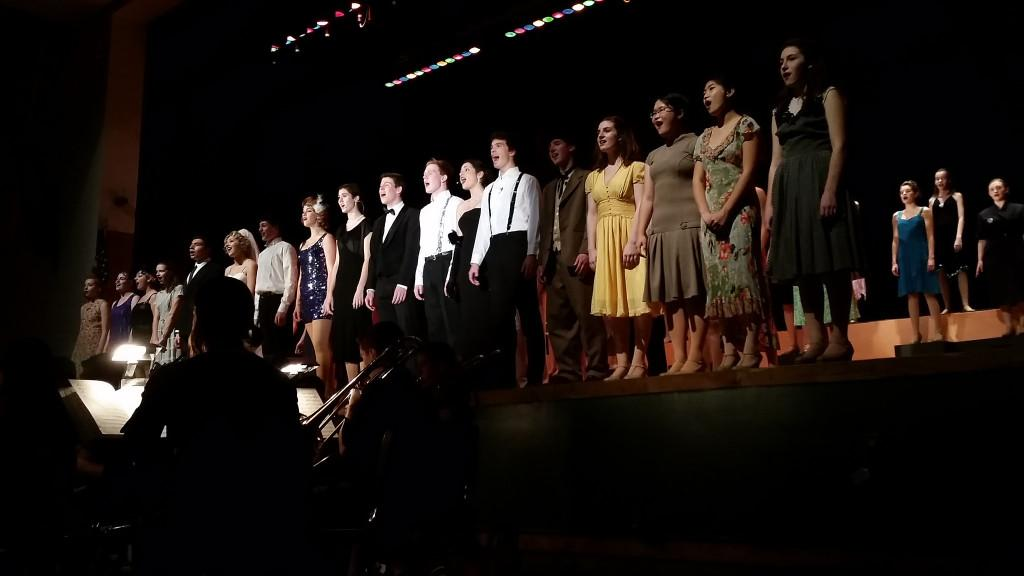 The entire cast of 42nd Street ending the show with a bang friday night.