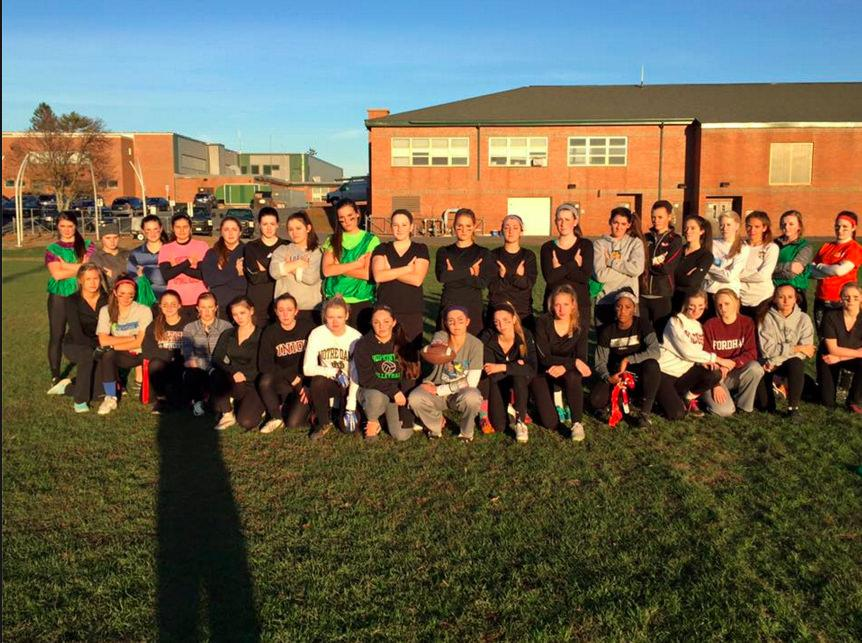 Senior Powder Puff team looking tough at the last practice before the game. Photo by Alli McNulty.