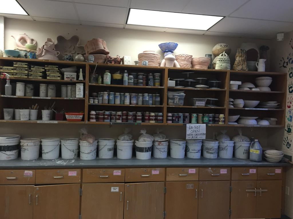 Glazes and projects surround the ceramics room. Photo by Allison McNulty.