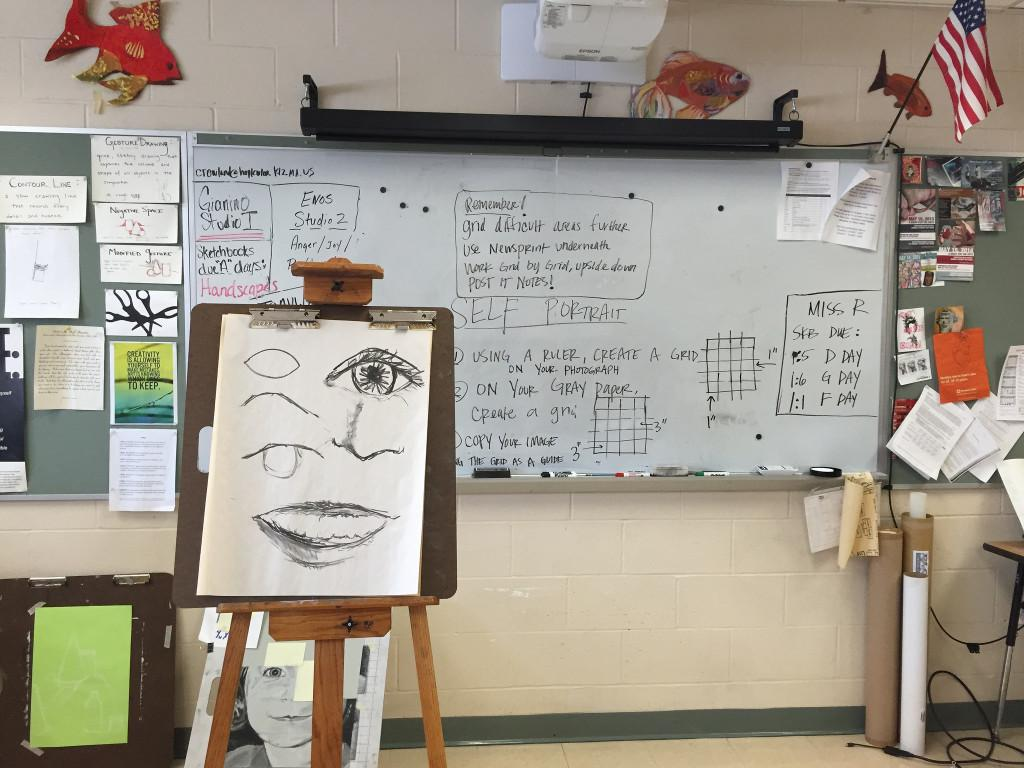 Instructions for the class are displayed on the whiteboard, and examples for the class to follow are pictured on an easel. Photo by Allison McNulty.