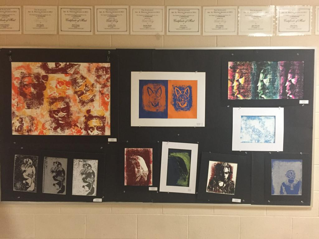 More artwork made by Hopkinton students decorates the walls of the art hallway. Photo by Allison McNulty.