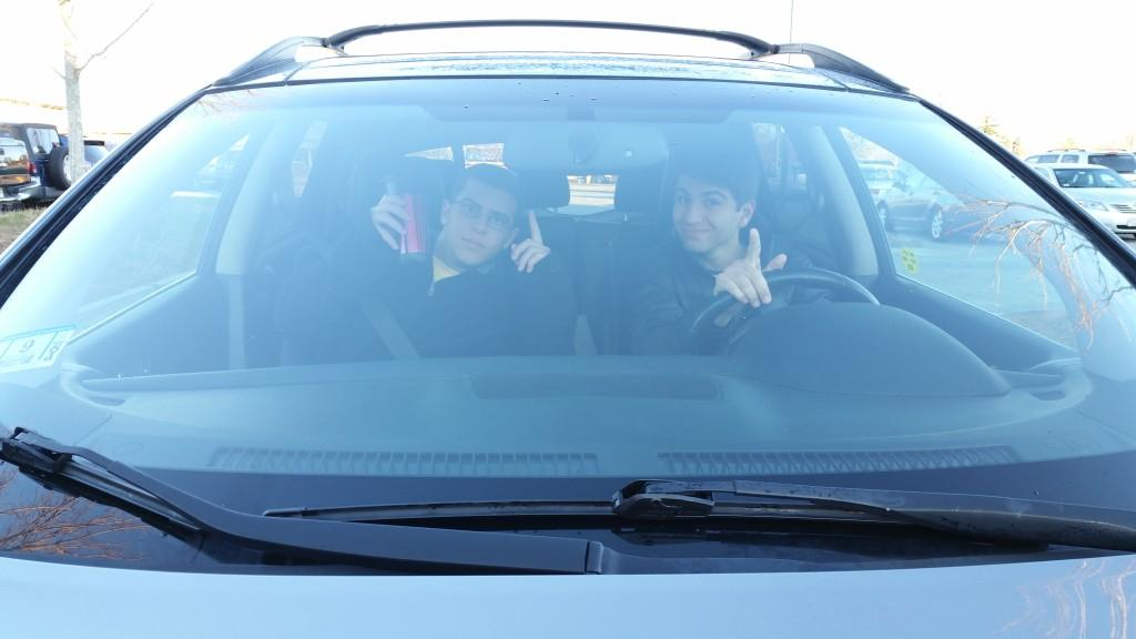 Seniors Joe Lanen (left) and Nick Gammal (right) pull into school with an exciting, positive attitude.
